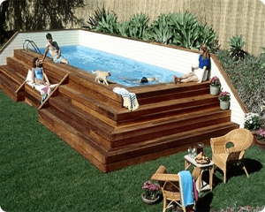 Corner Pool with Terraced Deck