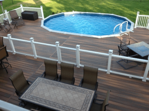 Above Ground Pool with Wooden slates