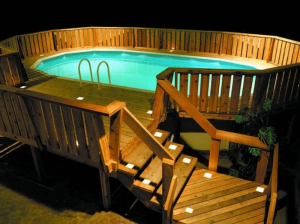 Outdoor Lighting For The Pool Deck with Rustic Wood