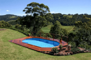Above Ground Pool with Ipa Wood look